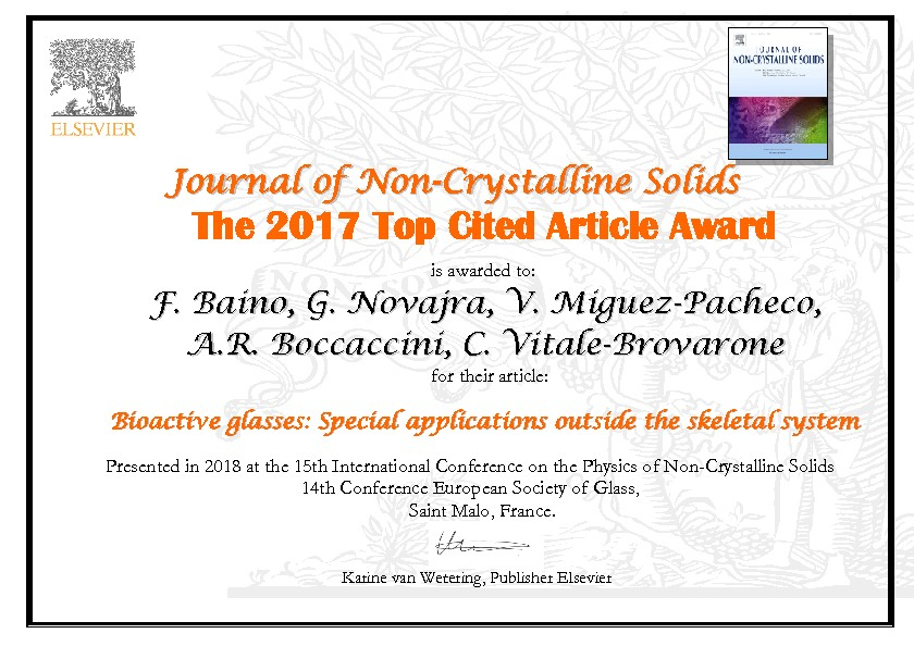 "Towards entry ""Most cited paper award: J. Non-Crystalline Solids"""