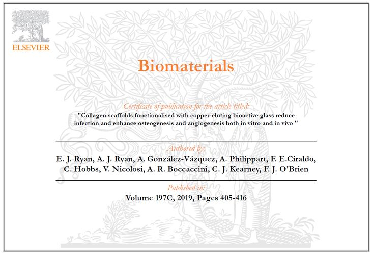 "Towards entry ""Our paper in collaboration with RCSI (Royal College of Surgeons in Ireland) researchers published in Biomaterials"""